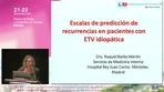 Escalas de predicción de recurrencias en pacientes con ETV idiopática