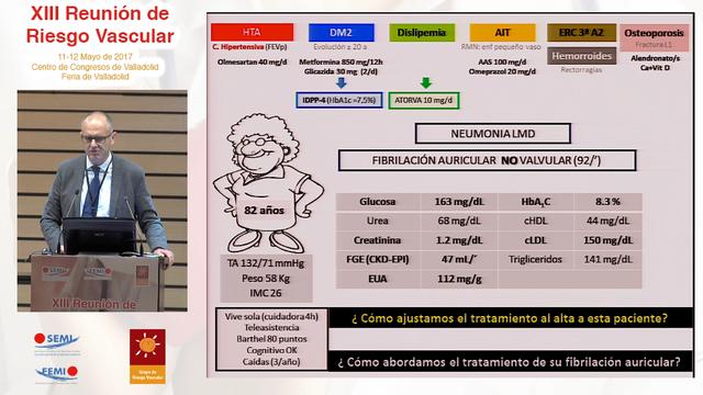 Conclusiones y coloquio Mesa Redonda 4: Anticoagulación en el paciente anciano con FANV