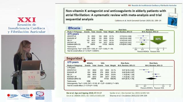 Beneficio clínico neto de la anticoagulación oral en pacientes pluripatológicos complejos con FA