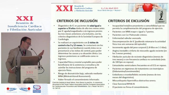 Ejercicio físico en pacientes con IC. Proyecto MÉRIDA